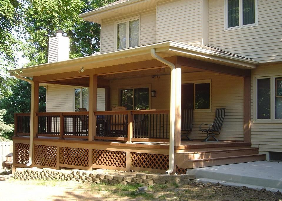 Covered porches timbertech twin finish deck open porch for Covered porch flooring options