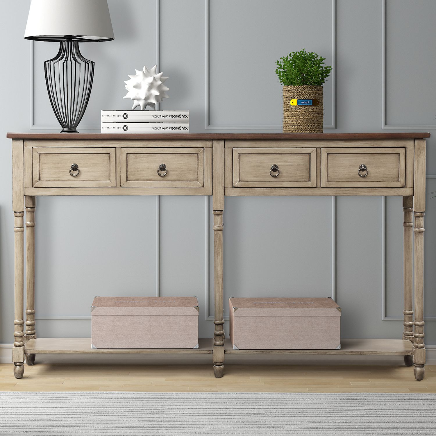 Retro Tall Parsons Console Table, Console Table With Storage Bins
