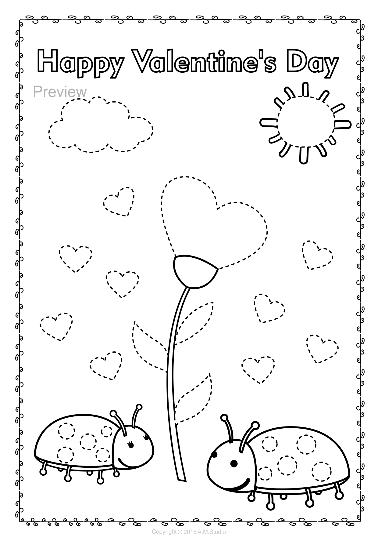 Valentine`s Day Trace and Color Pages {Fine Motor Skills ...