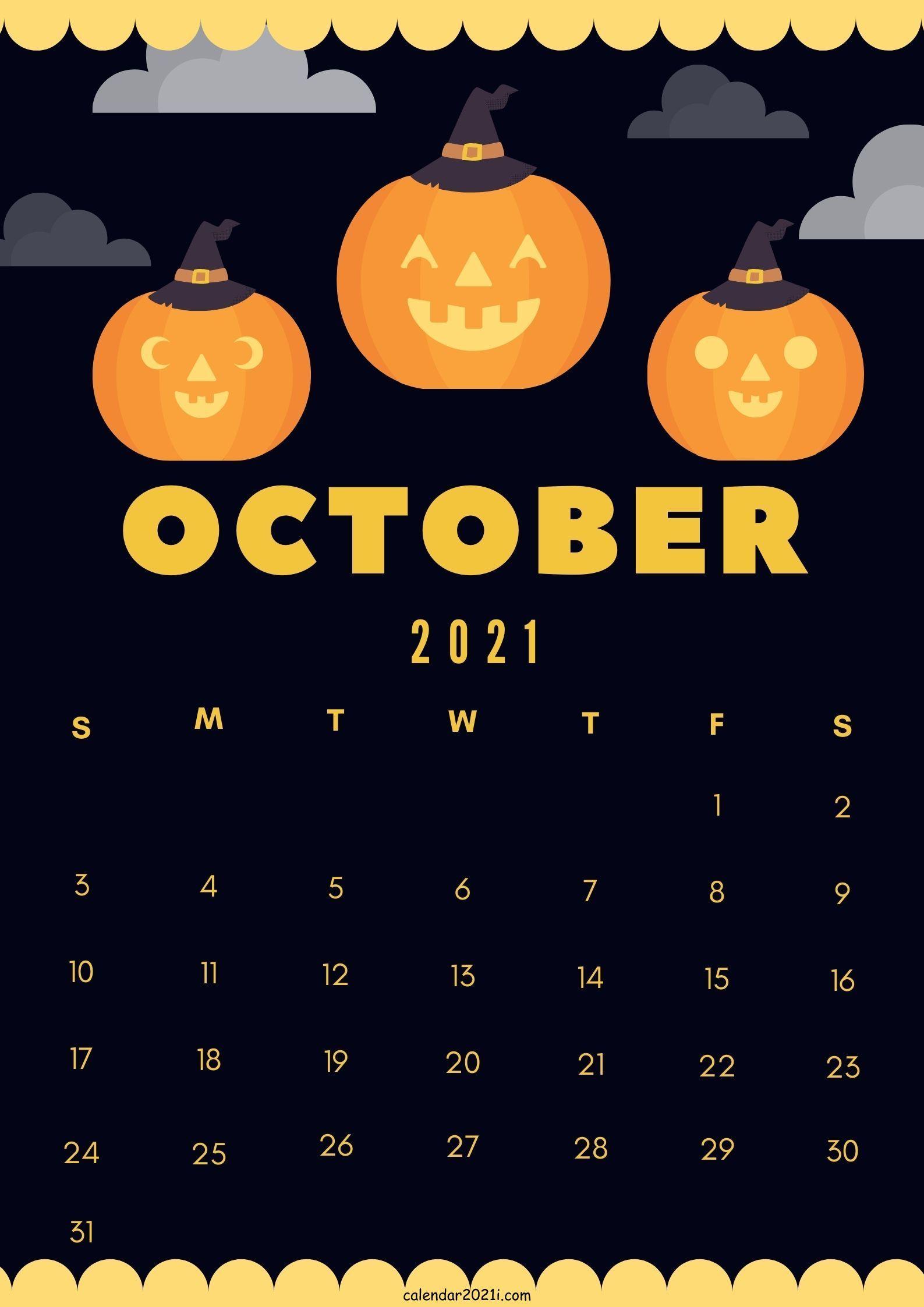 Halloween 2021 Calendar Cute October 2021 calendar design DIY theme layout free download