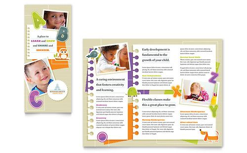 Kindergarten Tri Fold Brochure  Microsoft Word Template  Publisher