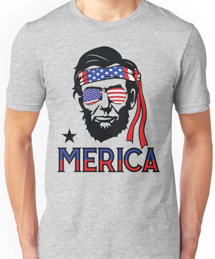 1dd56fb6 Merica - Funny Abe Lincoln 4th of July Hip American T-shirt Unisex T-Shirt