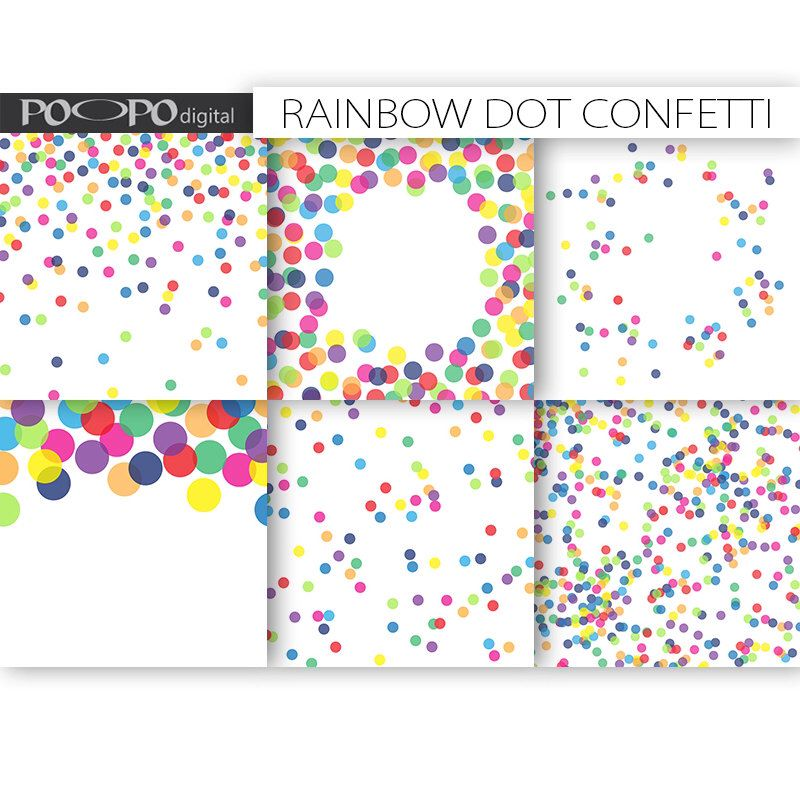 Rainbow Digital Paper Dot Scrapbook Multicolor Baby Shower