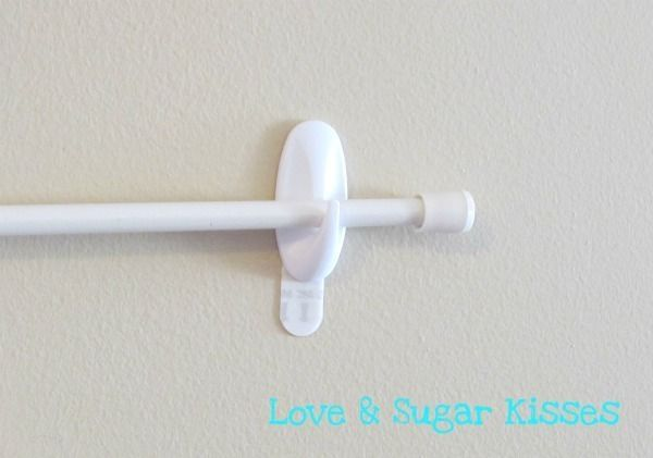 cheap curtain rod + 3M adhesive wall hooks = great for hanging ...