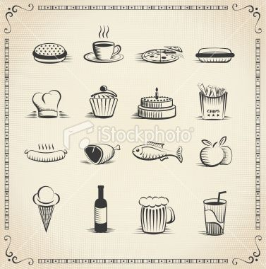 Food Vintage Icon Set Every Icon Is Grouped And On Separate Layer Vintage Icons Icon Set Icon