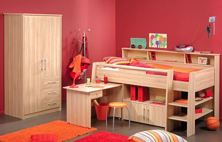 Teenage Bedroom Furniture Set With Red Wall Img Rzv10 In