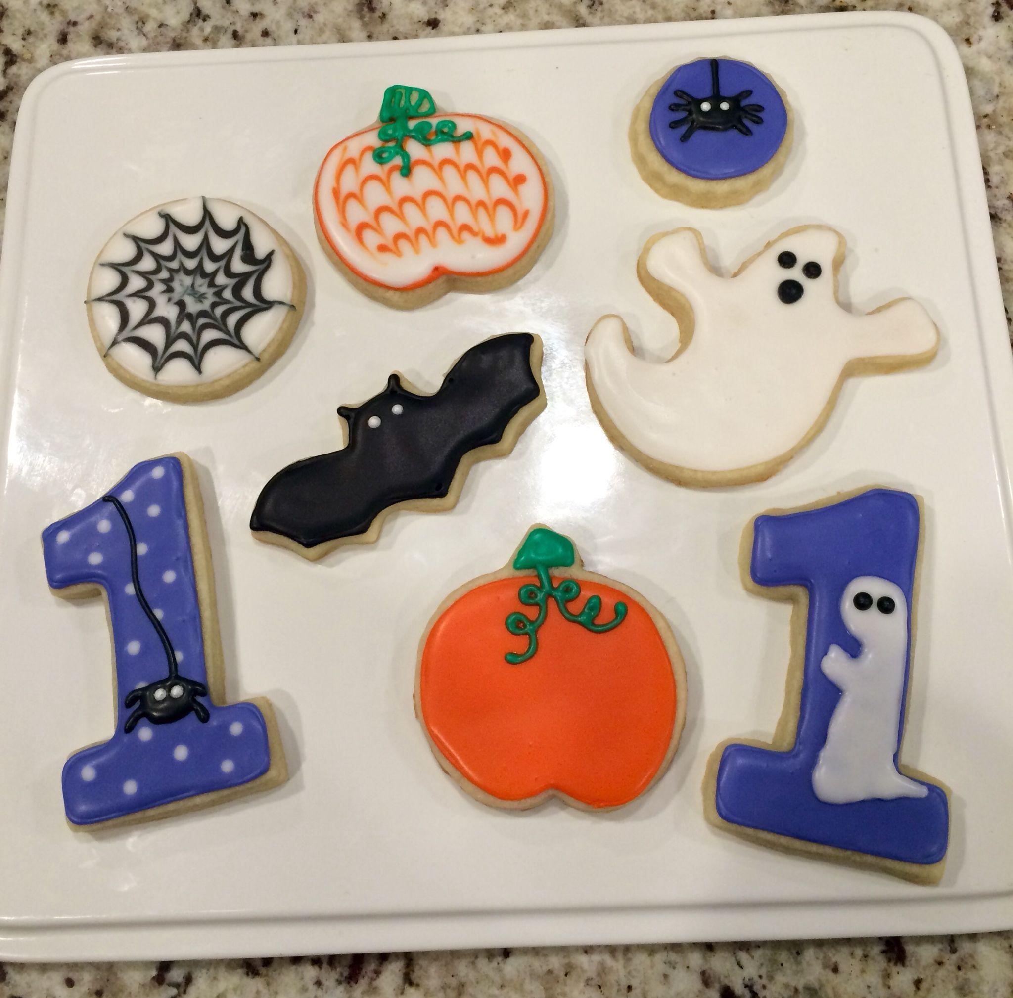 Halloween themed birthday party cookies Halloween cookies First ...
