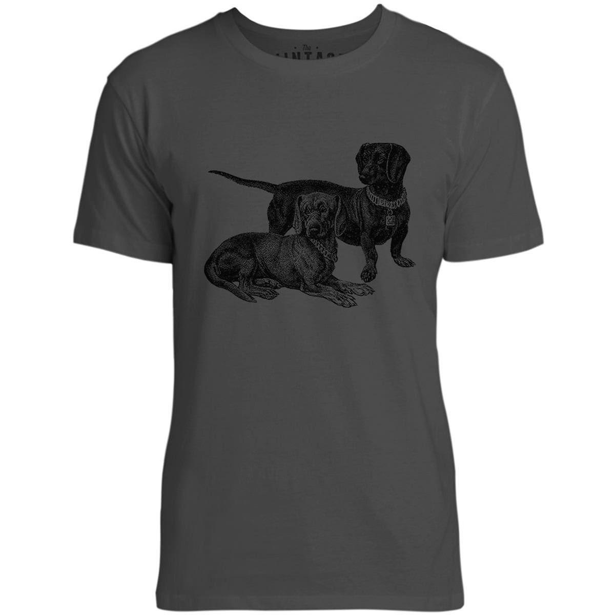 Mintage Little Dachshunds Mens Fine Jersey T-Shirt (Vintage Black)