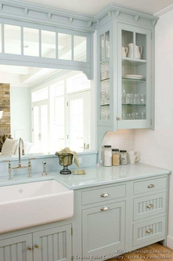 Pale Green Kitchen Wallpaper Home Chic Kitchen Farmhouse Kitchen Cabinets