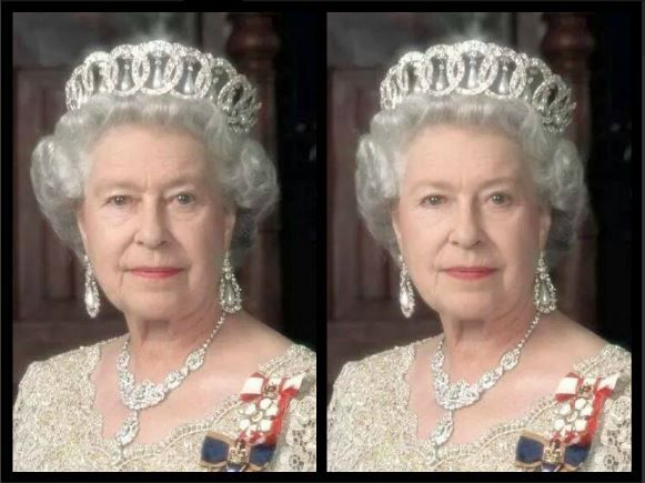 Queen Elizabeth - Before & After  By:  Sharon Danley..................... Note how she is more approachable and her beauty is softened with better shaped brows, soft eyeshadow liner and more defined lips.  Her hair has been reduced at the sides as well for better balance.