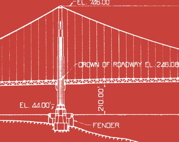 Golden Gate Bridge Architecture Blueprints, Plans And Elevations If Youre  Looking For A Bloody Marvelous