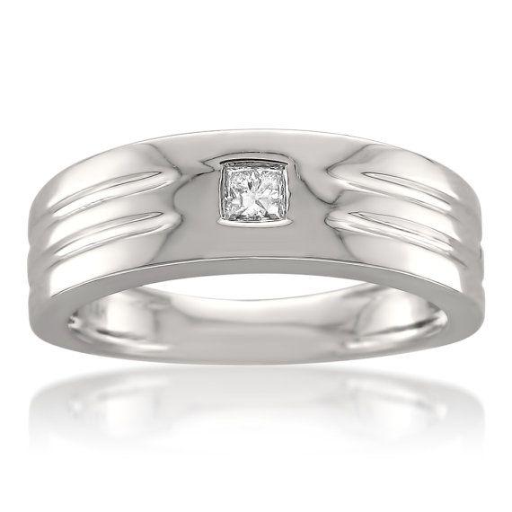 $500 14k White Gold Princess cut Diamond Men s Wedding Band Ring 1 6 ctt