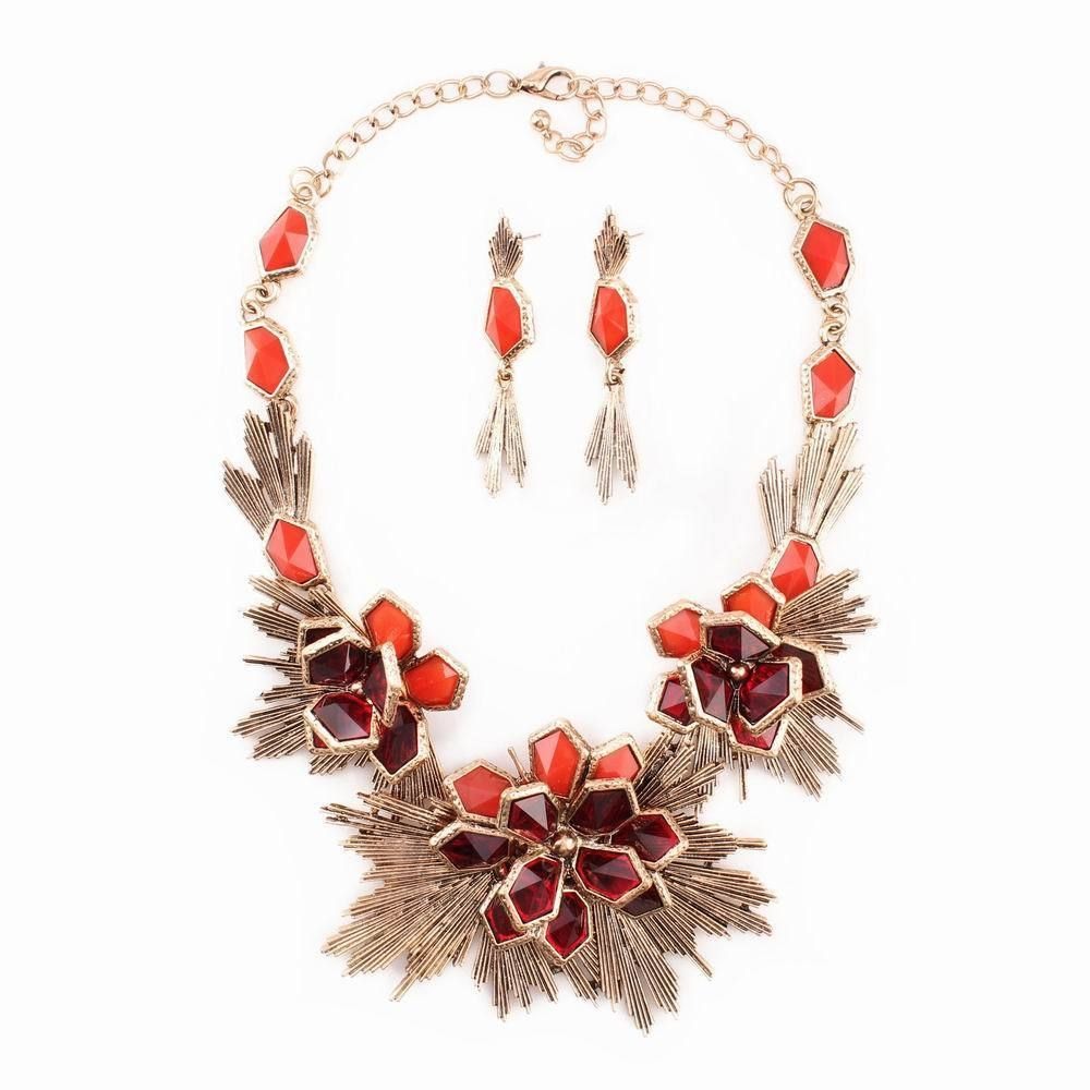 Big pendant flower pendant chunky statement necklace with earrings