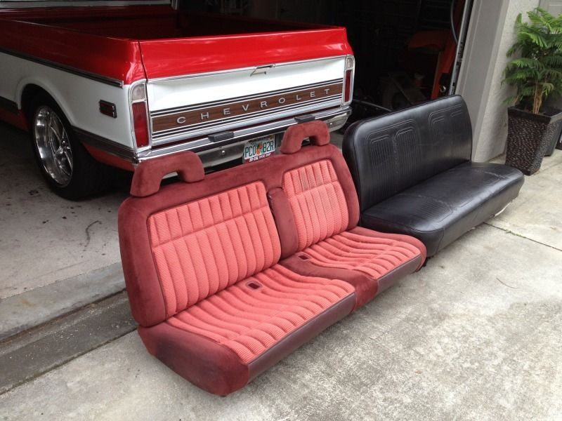 I 39 Ve Got The New Bench Seat Sitting In The Truck And Love The Feel Of It Here Are A Couple Of Pics On Car Interior Upholstery Truck Interior Chevy Trucks