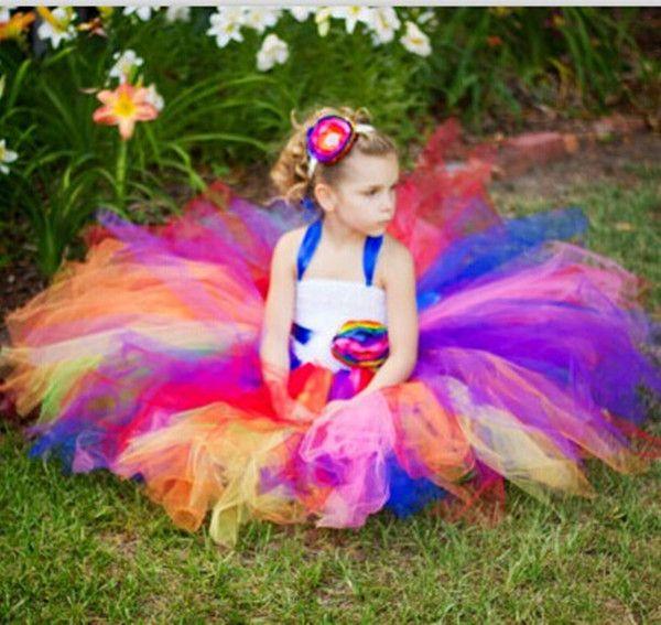 Cheap Más nuevo arco iris florista tutú niñas vestido de tul pascua ...