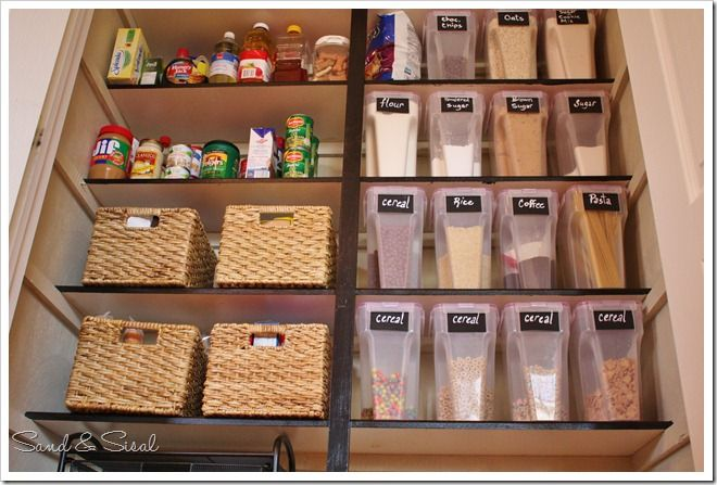 pantry: canisters/containers with chalkboard labels - baskets to hold bulk/bag or 'extra' items