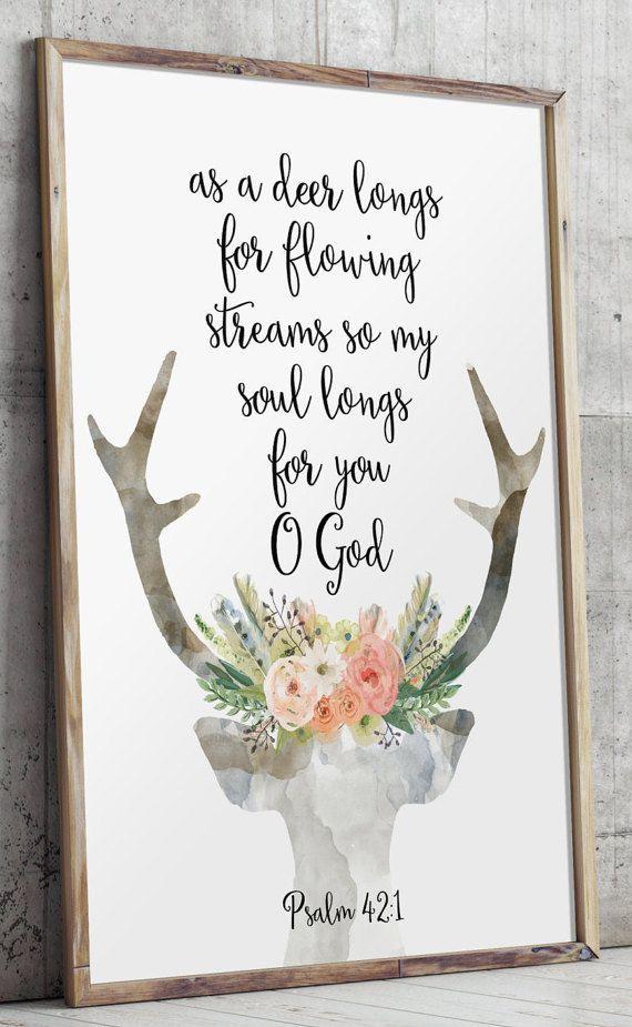 Psalm 42, Deer bible verse, Bible verse, Scripture print, Christian ...