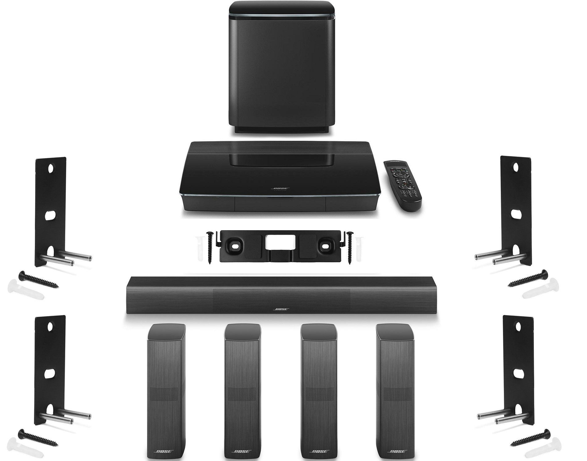 Bose soundtouch 130 home theater system black 738484 1100 b amp h - Bose Lifestyle 650 Home Entertainment System With Wall Brackets 1 Omnijewel Center Channel Bracket