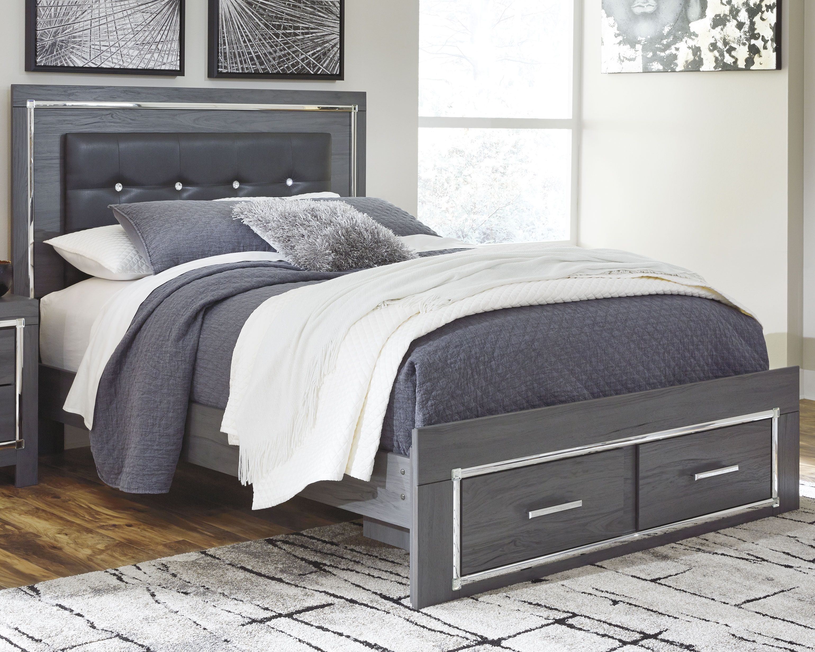 Lodanna Queen Panel Bed With 2 Storage Drawers Panel Headboard