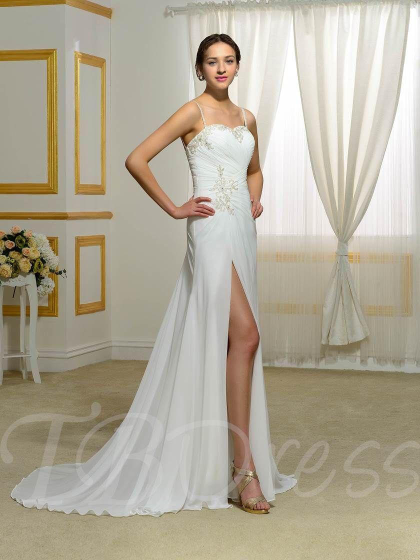 Beaded spaghetti strap wedding dresses  Spaghetti Strap SplitFront Beading Ruched Wedding Dress  Pinterest