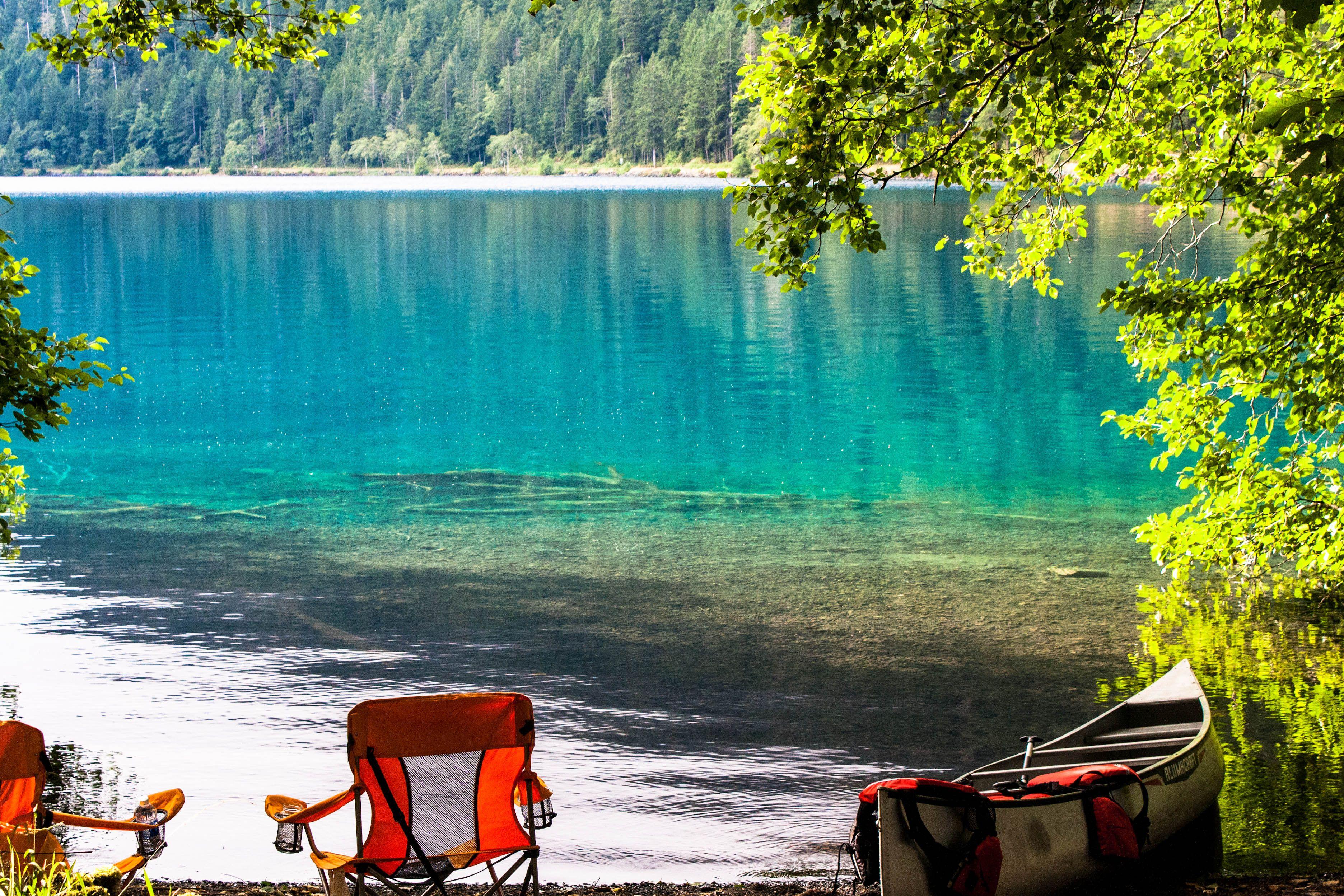 Camping at Lake Crescent in Fairholme, WA