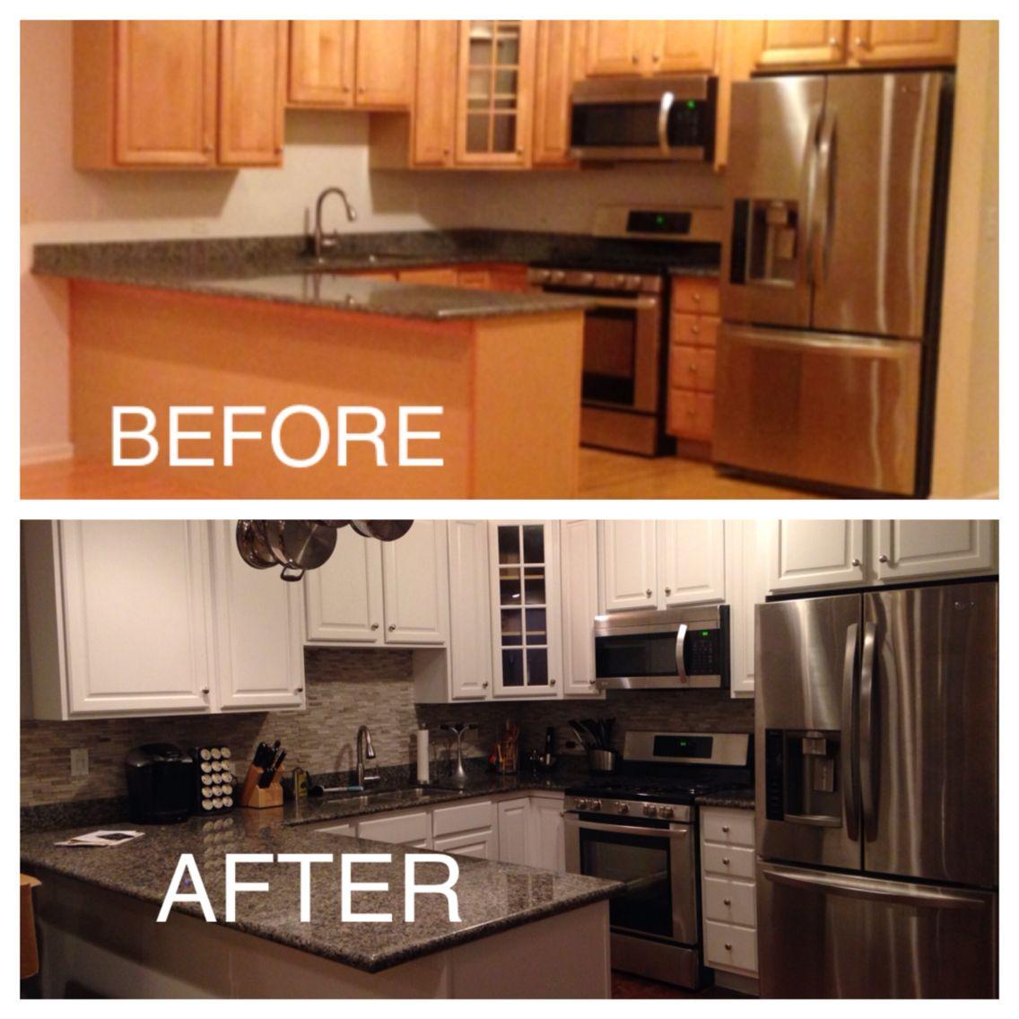 Kitchen Makeover! Adding A Stone Backsplash With White