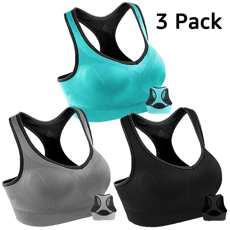 Women Racerback High Impact Workout Tank Sports Bra Running Yoga Gym Activewear