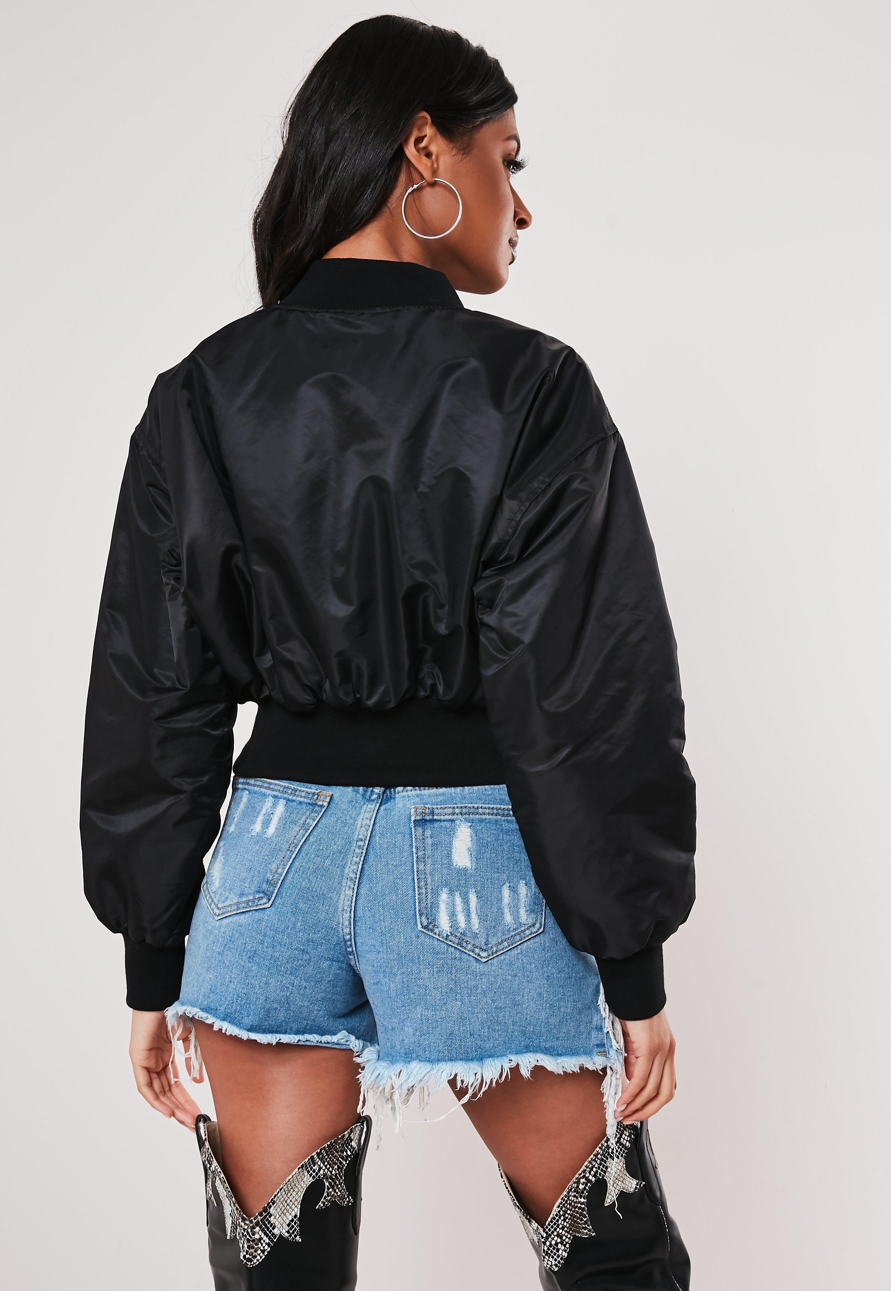 Black Utility Cropped Bomber Jacket Sponsored Utility Sponsored Black Cropped Jackets Women S Coats Jackets Cropped Bomber Jacket [ jpg ]