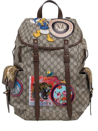 2d939906e5f GUCCI - GG SUPREME BACKPACK WITH PATCHES - BACKPACKS - BEIGE BROWN -  LUISAVIAROMA