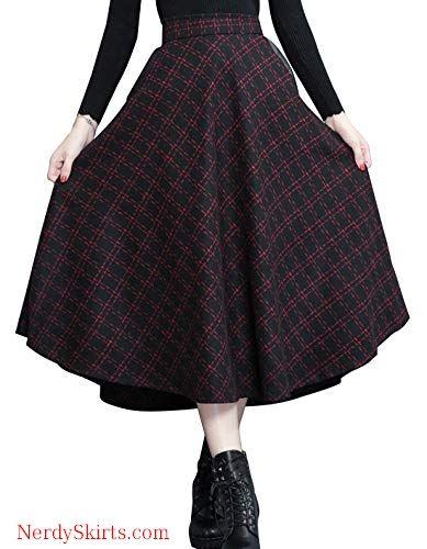 d037ca1d6c2d chouyatou Women s Elastic Waist A-Line Swing Check Plaid Midi Wool Skater  Skirt Hand Pocket