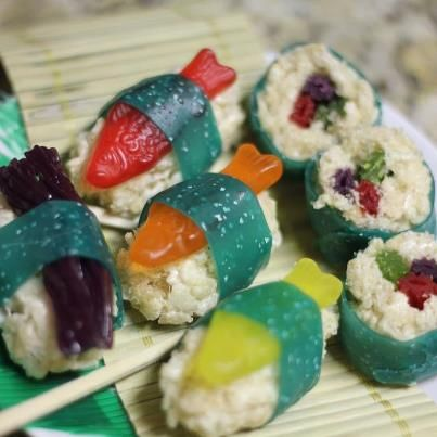Candy sushi using Rice Crispy treats, Froot Roll-ups and gummy fish.