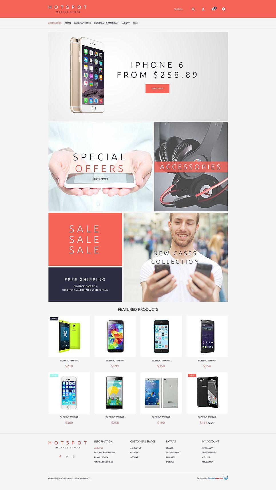 Free Opencart Theme For Mobile Shop Httpwwwtemplatemonstercom - Timeline website template