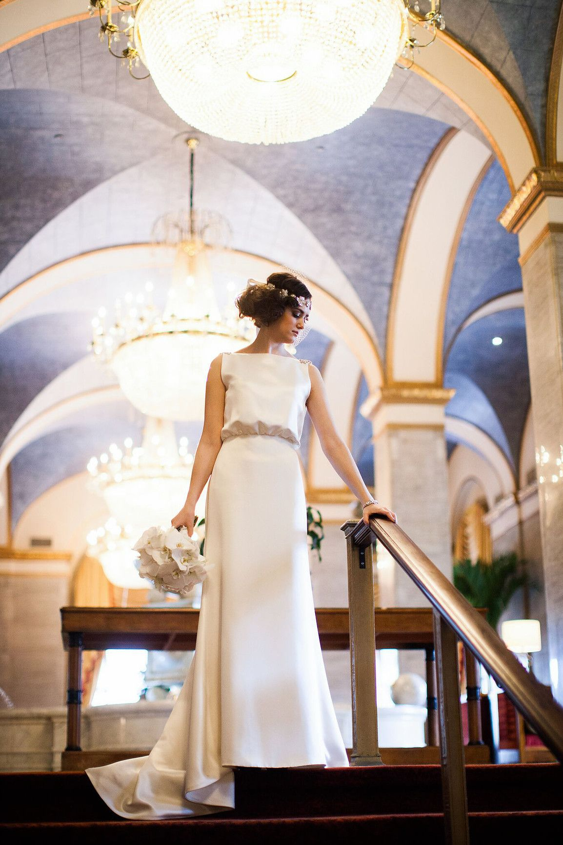 Caroline DeVillo's wedding gown Ginger is perfect for an Old Hollywood wedding look, available at Something White