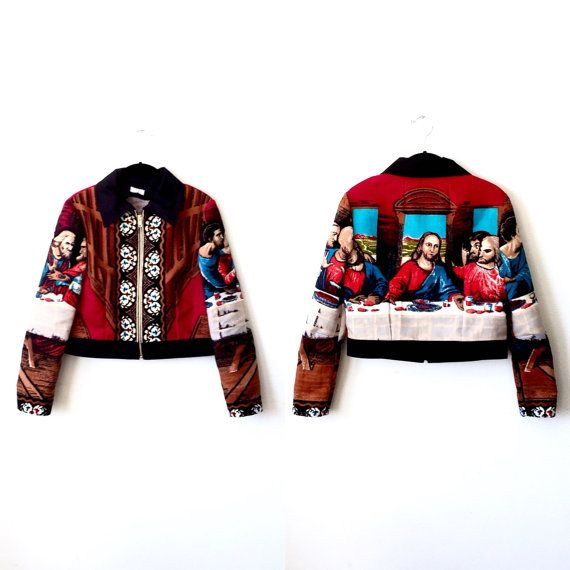 avant garde summer style jacket Last Supper Jacket / Tapestry Jacket / Bomber Jacket by rustycuts