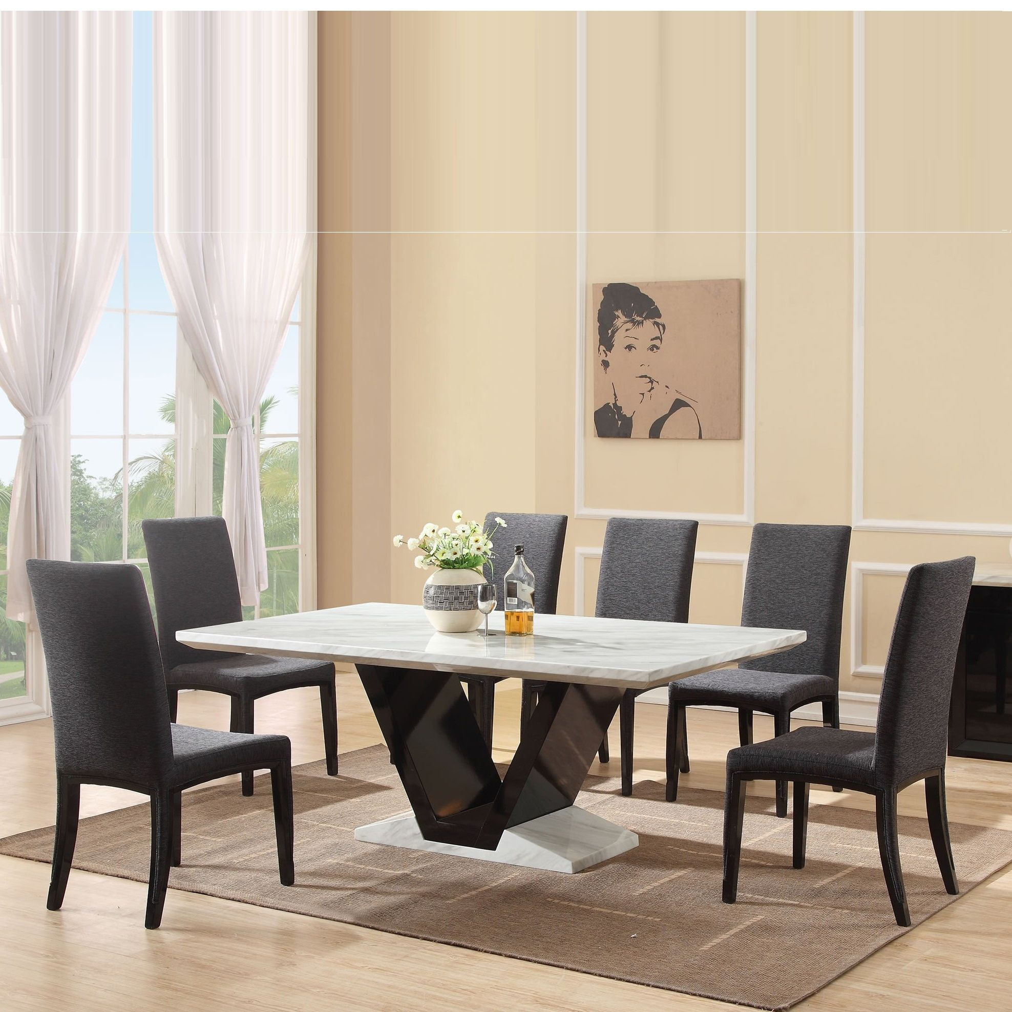 with size full of chairs for room dining small round top set and black table marble