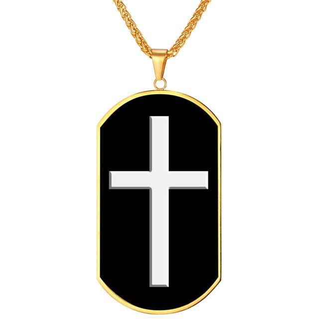 De los hombres joyería collar de acero inoxidable dorado s Cruz hombre Regalo Navidad