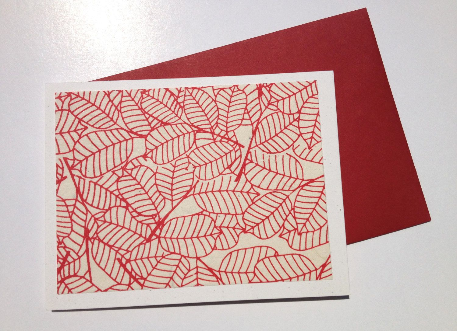 Handmade red outlined leaf print lokta paper note card by teryyo