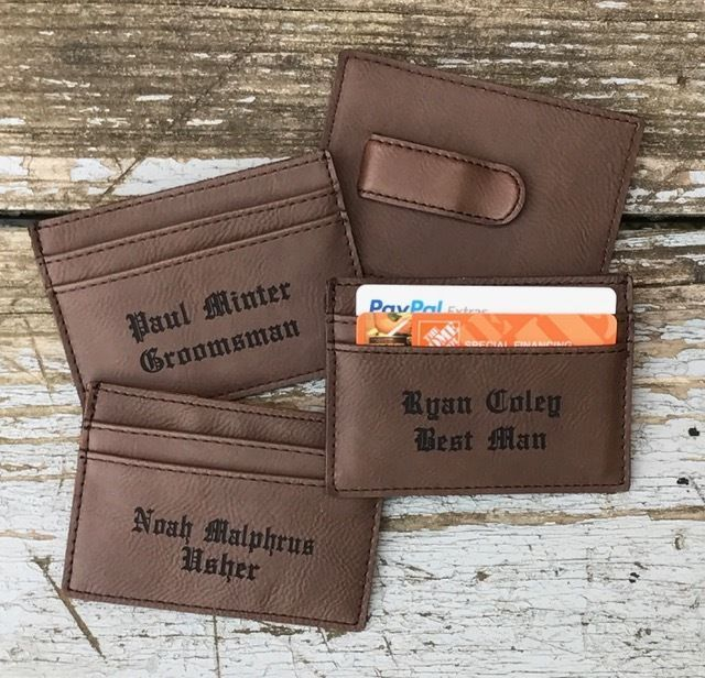 Wedding Gifts For Ushers And Best Man: Details About 2 Personalized Old English Leather Money
