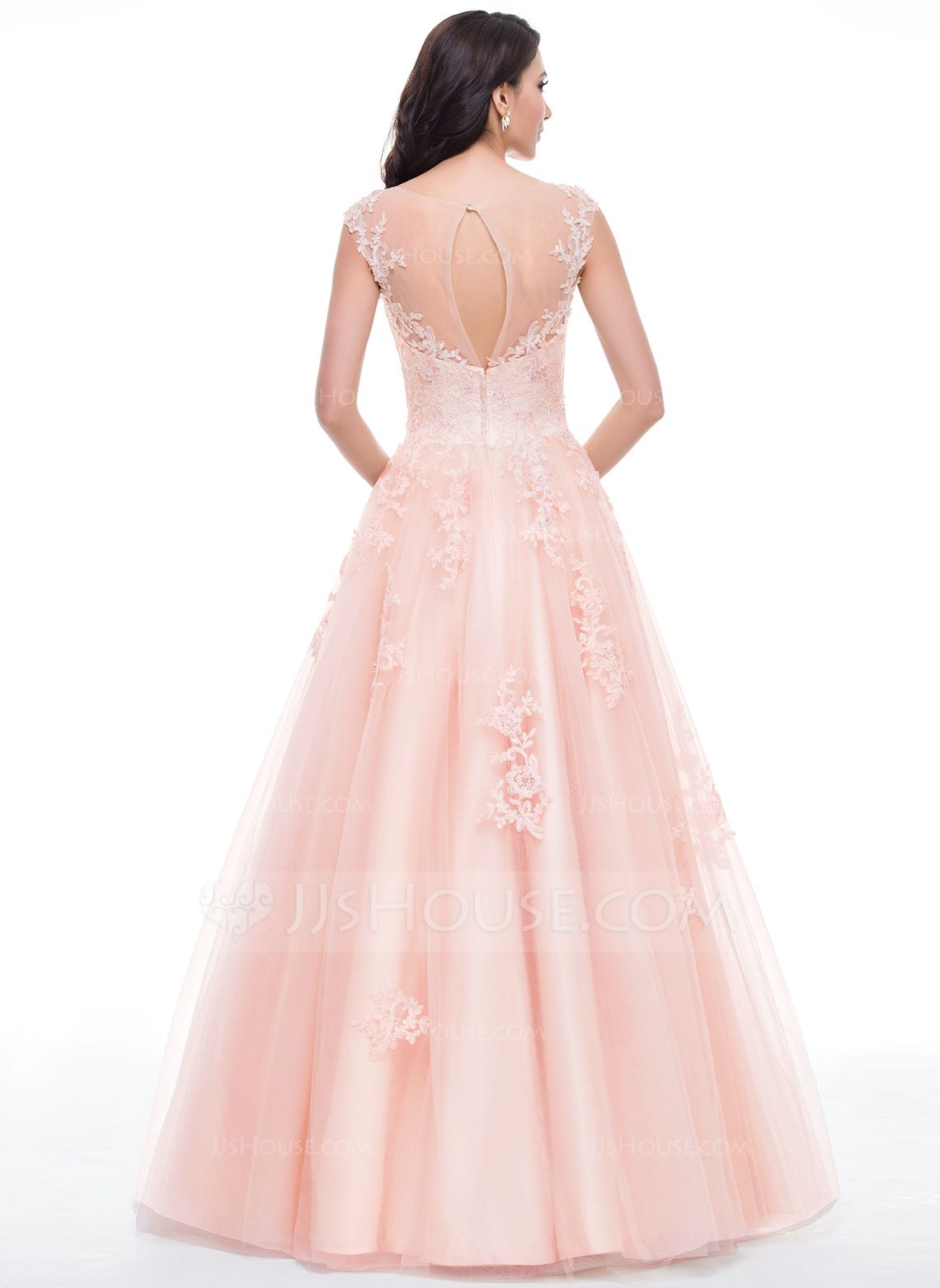 Ball-Gown Scoop Neck Floor-Length Tulle Prom Dress With Beading ...