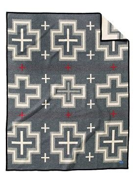 "SAN MIGUEL BLANKET - 19thC  Southwest ""nine element"" layout design based on traditional banded Chief Stripe pattern #Pendleton #blanket"
