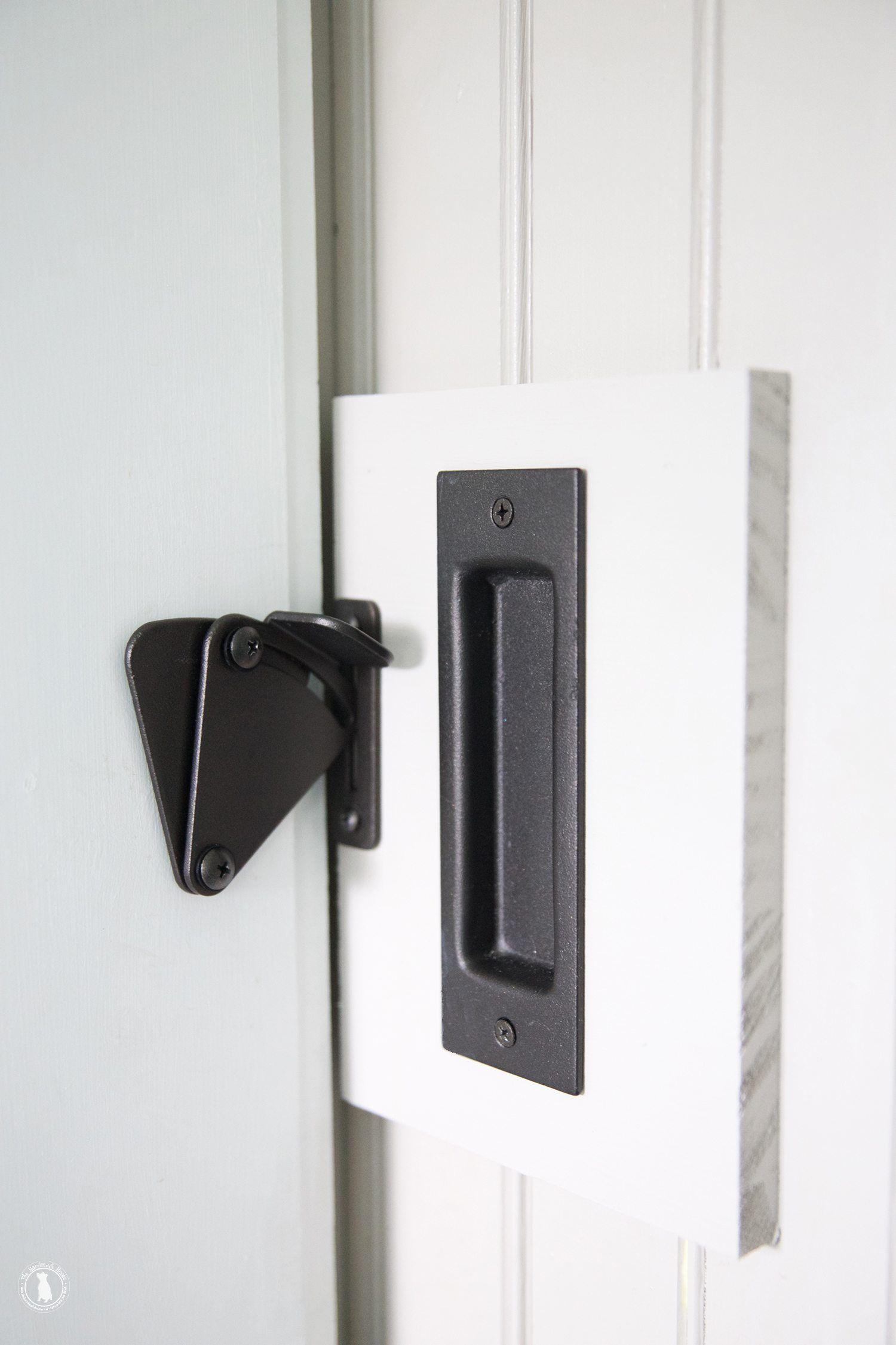 Add a lock to a barn door bathroom barn door sliding