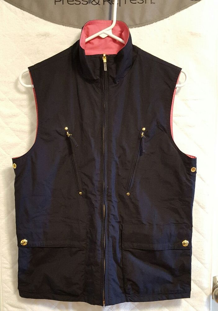 Lauren Ralph Lauren Womens Size Medium Navy Blue Pink Reversible Vest Full Zip Cotton Blend. Excellent Used Condition, no stains, rips, holes, tears or snags. Measurements are:    Shoulder to Shoulder: 16   Armpit to Armpit: 20   Back of Collar to Bottom Hem: 24      All measurements are in inches and laying flat. If you have additional questions or need additional measurements please don't hesitate to contact me.       Free Shipping!      Thank you for using ebay!   | eBay!
