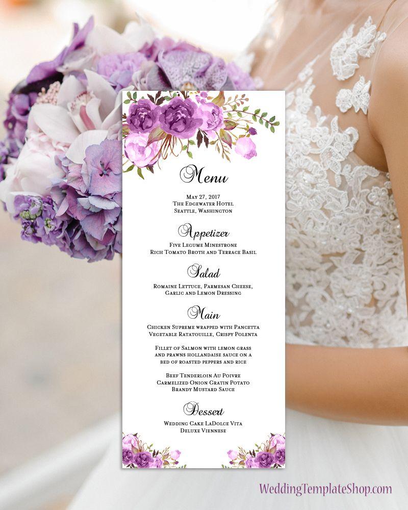 Diy Wedding Food Menu Ideas: Wedding Menu Card Romantic Blossoms Purple Printable DIY