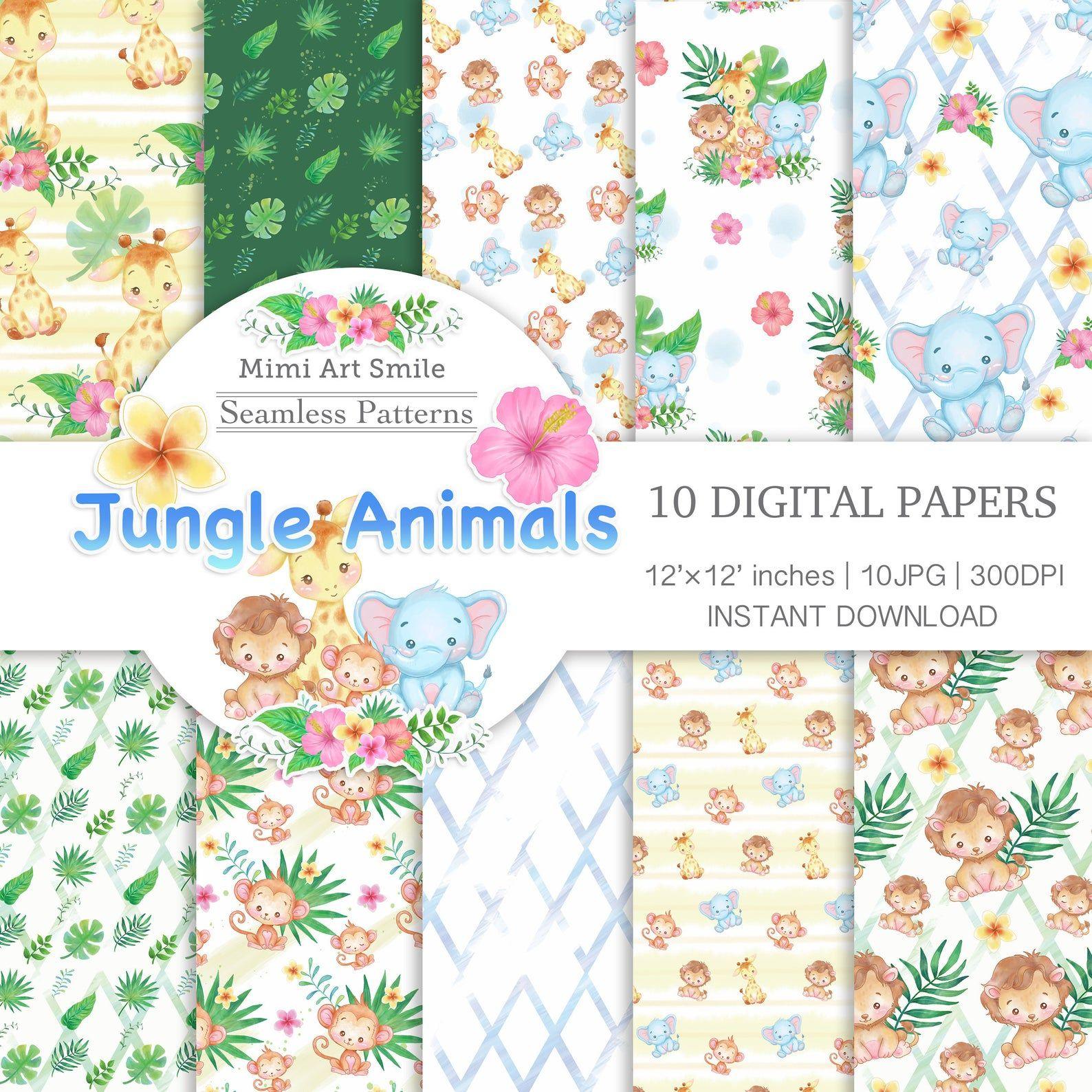Jungle Animals Digital Paper ジャングルアニマルのデザインペーパー キリンサルライオン Etsy Digital Paper Animal Clipart Jungle Animals