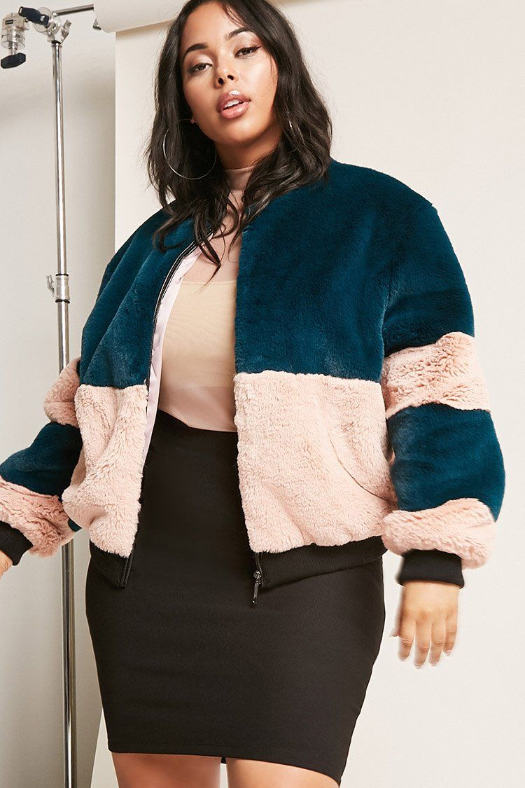 cae1d5a279ae7 Product Name Plus Size SHACI Faux Fur Colorblock Jacket