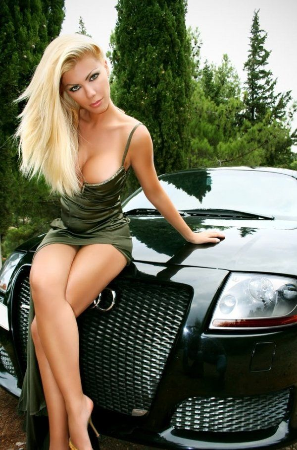 Naked chicks on import car with