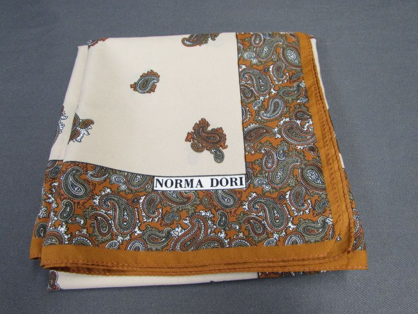 Norma Dori Neck Scarf | Fashion Accessory | Made in Italy | Paisley Scarf | Tan Brown Orange Green White - Etagere Antiques, Vintage, Collec...
