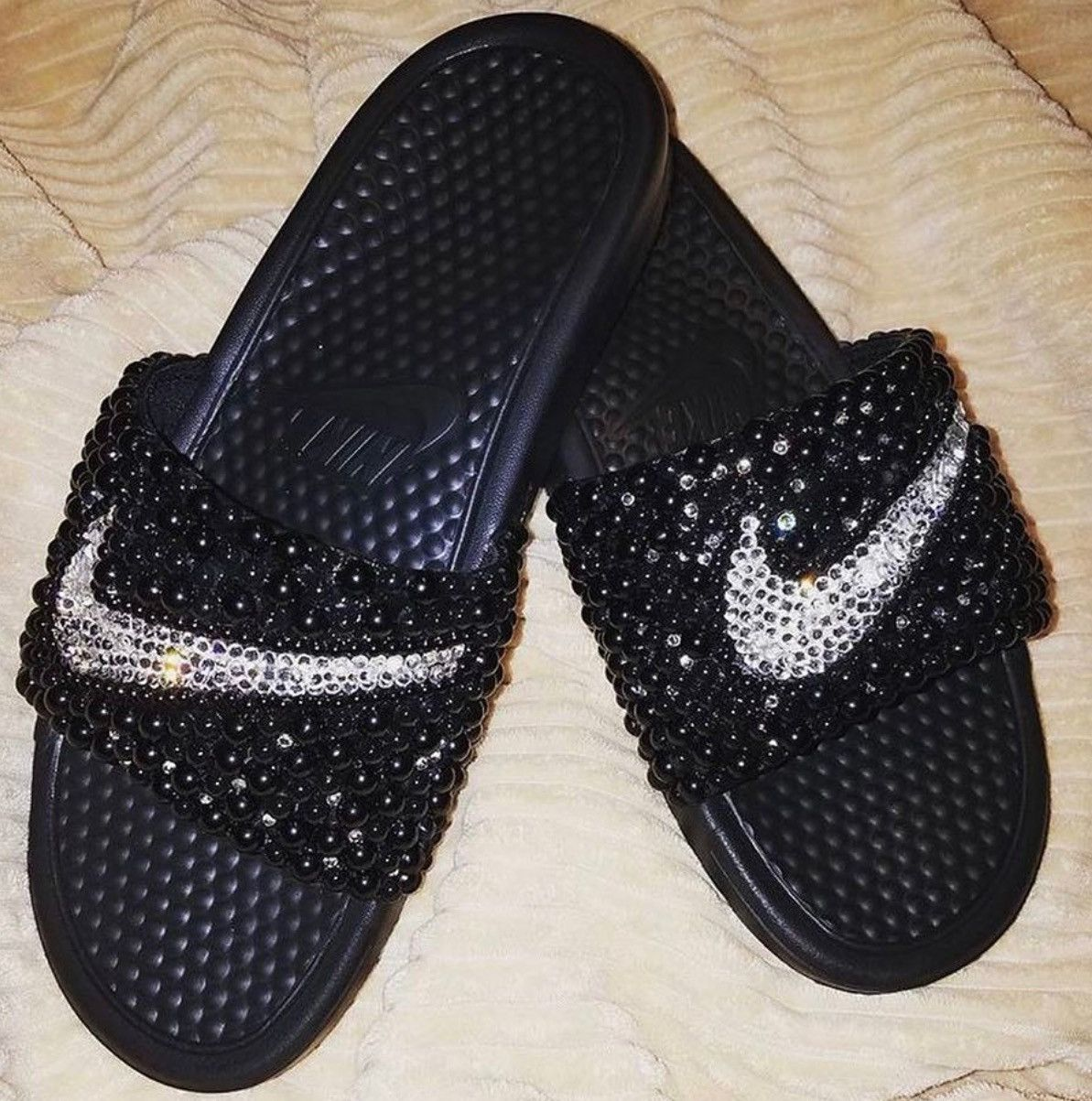 Custom Nike bling Swarovski and pearl slides Nike bling slides Swarovski  Pearl rhinestone sandals with black pearls and crystal clear Stones.