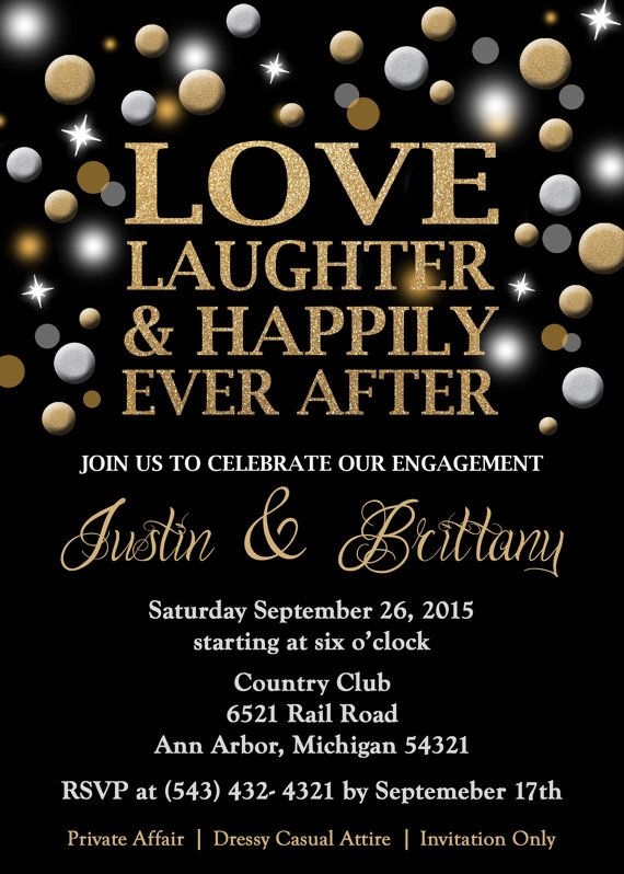 Engagement Party Invitation Love Laughter by GreatOwlCreations – Holiday Engagement Party Invitations