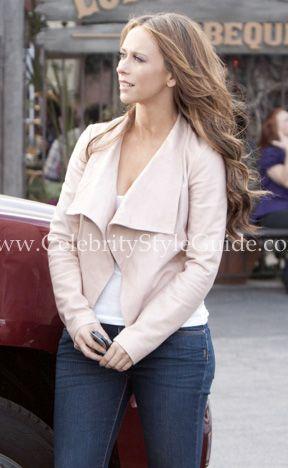 Jennifer Love Hewitt Wearing Theory Kanya Leather Jacket Ag